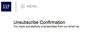 GAP unsubscribe